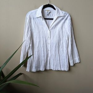 Talbots Stretch Rouched White Button Down Blouse